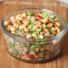 Cinco de Mayo salad with edamame, chick peas, red onion and herbs. Very healthy and rich in protein