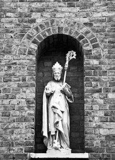 A statue of St. Patrick outside a church in Waterloo, Lambeth.