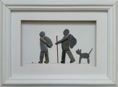Pebble art - hikers with dog