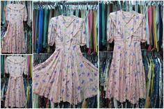 Vestito in seta rosa fantasia anni 40/Novelty silk pink dress from the 40s/Small…