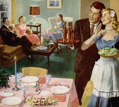 'The Bride's First Dinner Party', 1952 (illustration by Ray Prohaska) Photo Vintage, Look Vintage, Vintage Ads, Vintage Images, Vintage Prints, Vintage Housewife, Deco Retro, Vintage Poster, Arte Pop