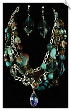 5 Strand Silvertone Chain Necklace Accented with Aqua Blue,Amber & Brown Beads and Charms with CLIP ON Earrings $48 @ www.whimzgirlclipearrings.com
