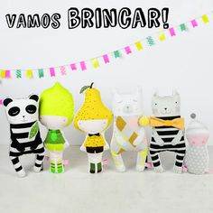 Panda doll, Lemon doll, Pear doll, polar bear doll, kitten doll and baby doll, for kids play and kids room  - by PinkNounou