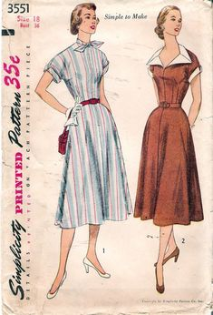 Vintage 1950's Simplicity 3551 Kimono Sleeved size 18