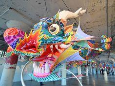 Ai Weiwei's dragon kite at his Alcatraz exhibition, San Francisco. Photo by Mike Chino.