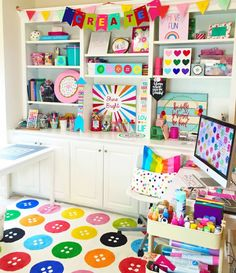 Welcome to Kayla Makes! Today's post is a peek inside my crafty space. My craft room is easily my favorite room in the house. It's the place I take. My Sewing Room, Sewing Rooms, Diy Craft Projects, Fun Crafts, Craft Ideas, Cricut Craft Room, Craft Rooms, Kids Rooms, Cameo