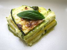 zucchini and summer squash lasagna, made with ricotta and pesto. this version is grain-free, SCD-friendly, and vegetarian.
