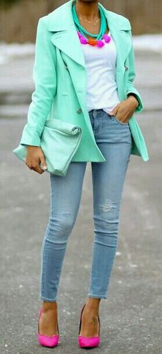 Mint green blazer, pink heels, & colorful accessories.