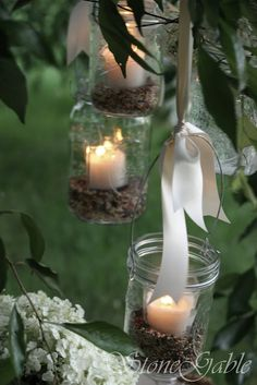 Candle light hangers. Such a Clever pretty idea....