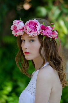 Pink Goddess Flower Crown by BeachBloomsFlowers on Etsy