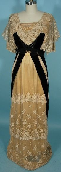 Antique Dress -1913 Gown of Golden Silk with Ecru Lace Overlay with Black Velvet Trim. Front