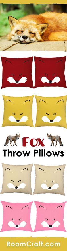 What does the fox say? Share your love for these cunning creatures with our silhouette fox throw pillows. Each design is offered in multiple fabrics, colors, and sizes making them a great addition to any room, office or library. Our quality animal pillow covers are made to order in the USA and feature 3 wooden buttons on the back for closure. Choose your favorite and create a truly unique pillow set. #roomcraft