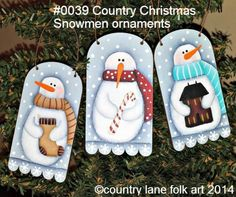 Country Christmas Snowman Ornaments E-Pattern