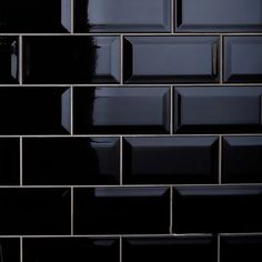 "ROCA Tile Color Collection Black 3""X6"" Beveled Glossy Subway Tile – Tilezz"