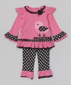 Another great find on Pink Polka Dot Bird Tunic & Ruffle Leggings - Infant by Baby Essentials Little Girl Outfits, Kids Outfits Girls, Little Girl Dresses, Baby Girl Dress Patterns, Baby Girl Dresses, Baby Dress, Cute Baby Clothes, Doll Clothes, Pink Polka Dots