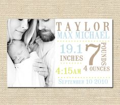 Grand Opening Sale Baby Boy Photo Birth by PinkSangriaDesigns