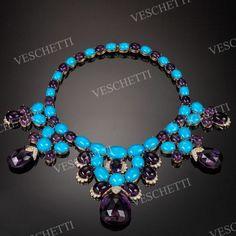 Luxury tyrkys, ametyst a diamanty náhrdelník LAURA - Fine Jewellery Veschetti