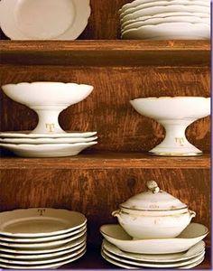 stacks of lovely white dishes