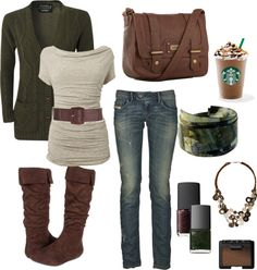 """Green and Brown Fall"" by chelseawate ❤ liked on Polyvore"