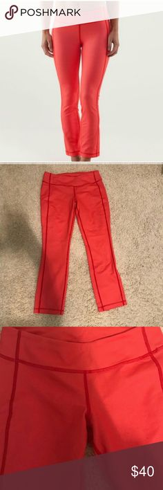 Lululemon yoga pants Lululemon cropped yoga pants. Some pilling but good condition. 13 inches at waist. 25 inch inseam.  Small spot on left front knee but barely noticeable.  Slim fit. Ankle length. Medium rise. Denim in love red color lululemon athletica Pants Leggings