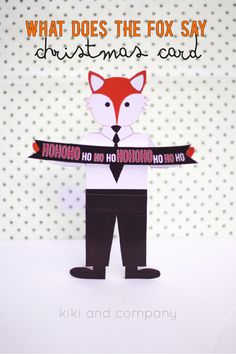 what does the fox say christmas card from kiki and company. perfect for money or gift cards!