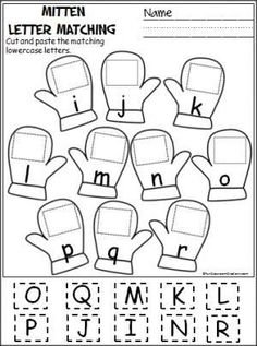 Free cut and paste letter matching activity for winter (i-r). Cut out the uppercase letters and paste them on the mittens with the matching lowercase letters.
