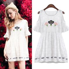 White Off The Shoulder Embroidery Print Slim Dress