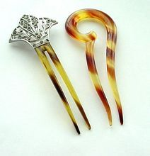 2 Vintage Hairpins - Aluminum and Paste Decoration