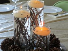 DIY candle table centerpiece Use big vases and candles I have with twigs and pinecones.