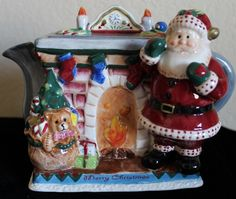Fitz and Floyd Christmas Santa by The Fireplace Teapot Merry Chrismtas | eBay