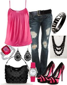 Pink cami Faded (dark) blue jeans Accessories Fuschia Pink Shoes