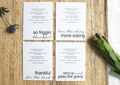 """Ha, laughing at these snarky Thanksgiving menu printables with sayings like """"shut upa nd pass the gravy."""" 