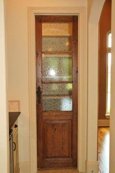 Great pantry door in the kitchen. Interior designer: Van Alan Homes Kitchen Pantry Doors, Kitchen Redo, Kitchen Remodel, Rustic Pantry Door, Closet Doors, Pantry Closet, Tiny Pantry, Corner Pantry, Hall Closet