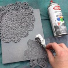 TUTORIAL #7 – SPRAY PAINTED DOILY CANVAS | SHEY B