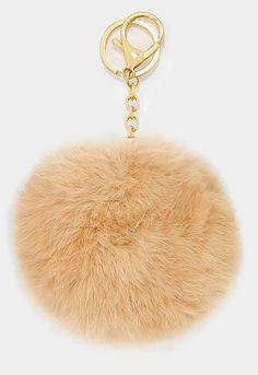 Large Rabbit Fur Pom Pom Keychain, Key Ring Bag Pendant Accessory - Tan