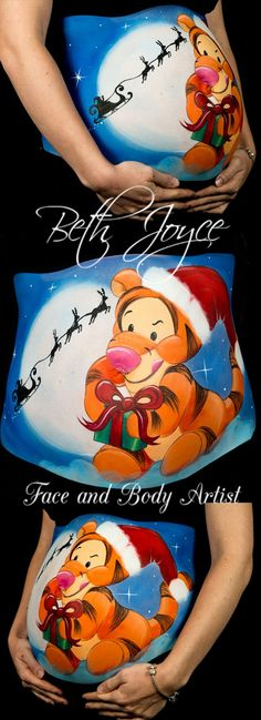 Baby Tigger Belly Painting, Due on Christmas Day, Baby shower idea, so much fun, Best job in the world! Follow me on Facebook ;) https://www.facebook.com/bethjoycefaceandbodyartist/