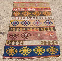 "Antique Tribal Turkish Kilim Oriental Rug Size 2' 9"" x 4' 6"" Very Good Condition | eBay"