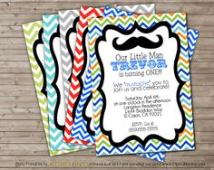 CHOICE OF COLOR Chevron Mustache Birthday Party