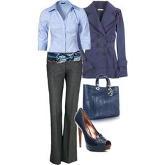 Outfit - i like the palatte of blues.  I don't think I can do heels that high any more.