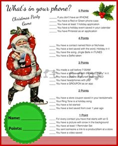 Christmas Game-Whats in your phoneInstant Download | Etsy