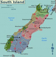 Map of New Zealand's South Island