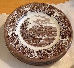 Vintage J&G Meakin Romantic England brown transferware orphan saucer only (no cup) featuring Haddon Hall, cows. China Patterns, Dinnerware, 1960s, Vintage Items, Cow, House Plans, England, Romantic, Ceramics