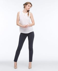 Purchase The Sateen Prima - Sulfur Night Sky featured by AG in sulfur night sky or super black. Body Reference Poses, People Png, Human Pictures, Photoshop, Body Shots, Ag Jeans, Woman Standing, Female Poses, Silk Crepe