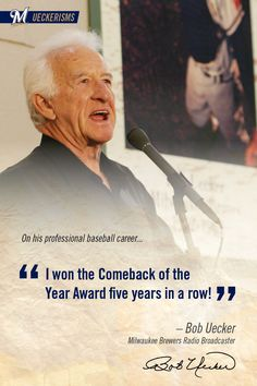 """I won the Comeback of the Year Award five years in a row!"" #UECKER #Baseball #MLB #Sports #BobUecker #Brewers #MilwaukeeBrewers"