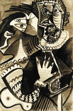 Picasso - Le commandeur et buste de femme (1972)➕More Pins Like This At FOSTERGINGER @ Pinterest ➖ ✖️