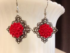 Dangle filigree earrings with red flower by PagansParadise on Etsy, $13.00