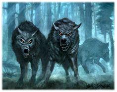 Worg - Essa besta se parece com um lobo cinza ou negro, mas uma inteligência maligna e diabólica emana de sua face e do brilho dos seus olhos. Eles atingem 1,5 m de comprimento e cerca de 1 m de sobre as quatro patas. Eles pesam 150 kg.