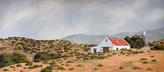 #458_Klein_Karoo_with_Windmill Watercolor Art, Oil On Canvas, Farmhouse, Cabin, The Originals, Watercolours, Windmill, House Styles, Places