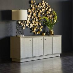 Shop the Palecek Benton Modern Classic Hand Applied Raffia 4 Door Sideboard and other Buffets & Sideboards at Kathy Kuo Home Dining Room Buffet, Dining Room Furniture, Modern Furniture, Mirrored End Table, Bliss Home And Design, Rustic Coffee Tables, D 20, Room Accessories, Adjustable Shelving