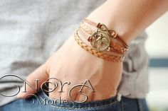 دستبند چرمی سه لایه کد:40 قیمت:25000تومان #noragallery #jewelry  #jewels #necklace  #bracelet #mashhad